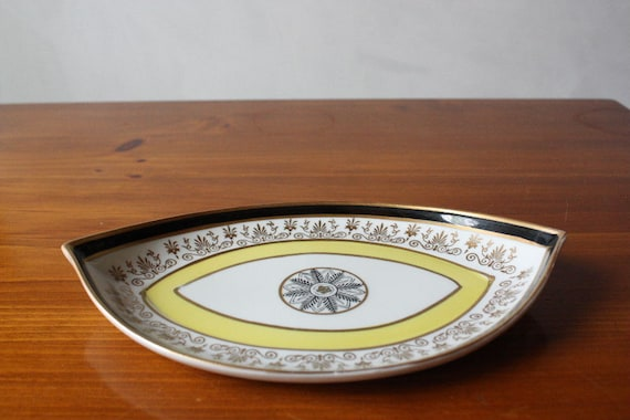 Vintage Mottahedeh Yellow Gold Black Dish