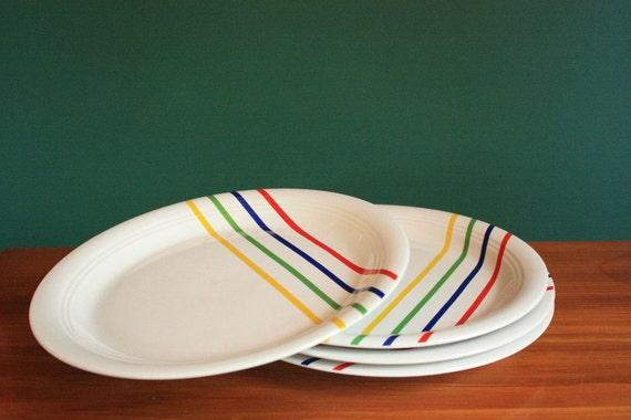 Vintage Anchor Hocking Rainbow Stripe Dinner Plates - 4