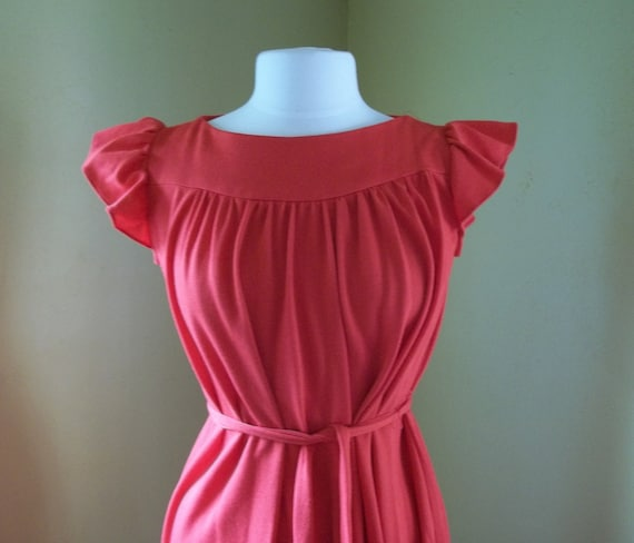 Vintage Landou Petites Red Babydoll Dress with Ruffled Capped Sleeves and Matching Belt Size 6