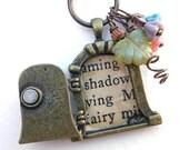 Fairy Door Necklace - Charming Brass door with vintage words and beads