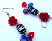 Earrings - Retro  Rockabilly ZEBRA Print Earrings  with Red, Purple and Blue