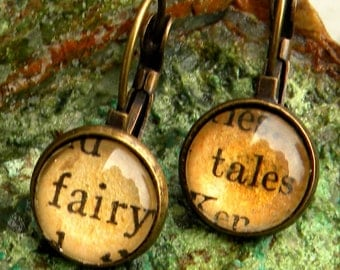Word Earrings  - FAIRY TALE  -    Vintage Words, Glass cabochons, antiqued brassStocking Stuffer