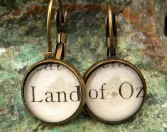 Word Earrings,  Wizard of Oz Jewelry, Oz Earrings,Book Earrings, Book Jewelry,  LAND Of OZ Earrings, Land Oz Jewelry, Dorothy Toto Earrings