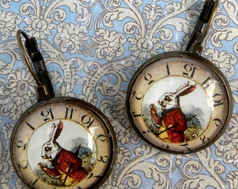 Alice In Wonderland Earrings - Wonderland WHITE RABBIT Earrings - Alice In Wonderland Jewelry - White Rabbit Watch Earrings