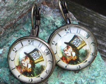 MAD HATTER Earrings, Mad Hatter Clock Earrings, Alice in Wonderland Earrings,