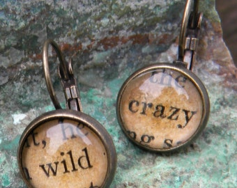 Word Earrings, Wild and Crazy, Book Earrings, Book Lover, Librarian, Bibliophile, Inspirational Earrings