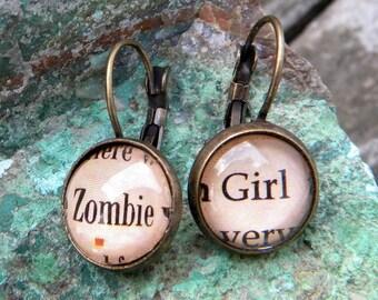 Zombie Girl, Zombie Earrings, Zombie Jewelry, Walking Zombie, Dead Zombie