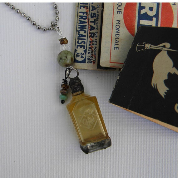 GIN JOINT - Tiny Bottle of GIN - Vintage hard plastic bottle of gin adorned with stone and glass beads.