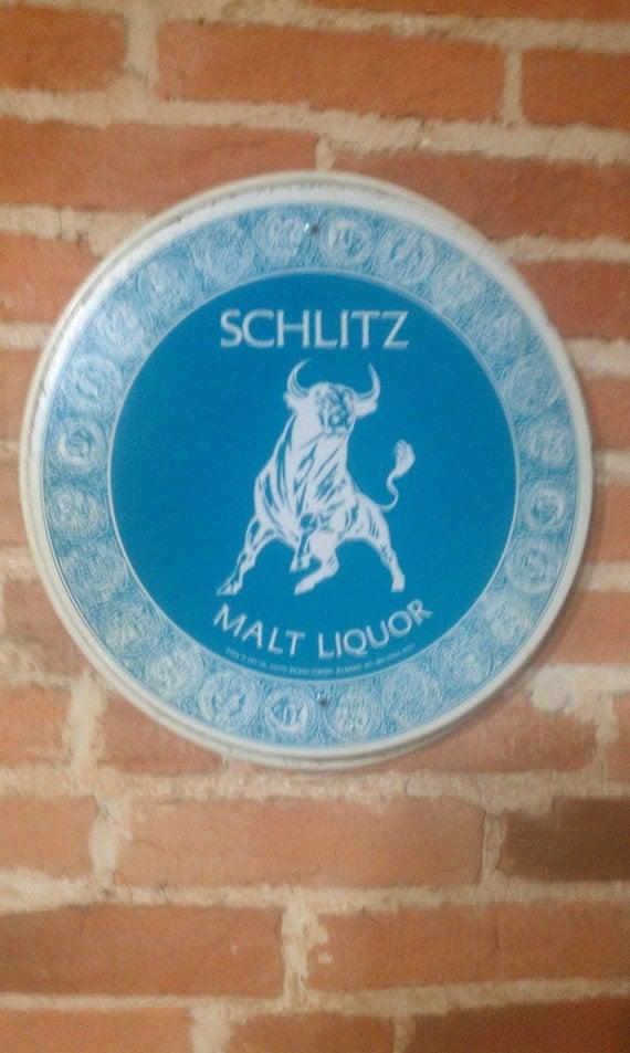 Vintage SCHLITZ MALT LIQUOR Bar Tray Wall Hanging 1971