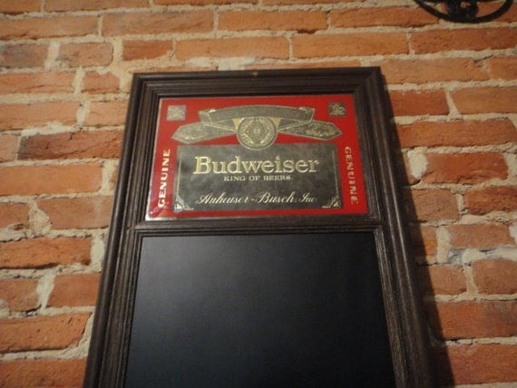 Vintage Bar Cart >> Vintage Budweiser Glass Mirror Bar Sign with Chalkboard