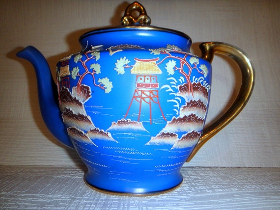 Blue and Gold Hand Painted Landscape Teapot Made in Japan