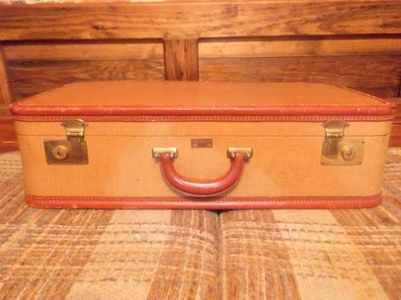 Vintage Tuerkes Leather and Tweed Suitcase with Leather Trim
