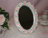 Embellished Mirror with Pearls and Pink Ribbon Roses