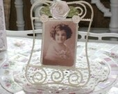 Embellished Ivory Pearl and Rolled Satin Ribbon Rose Picture Frame