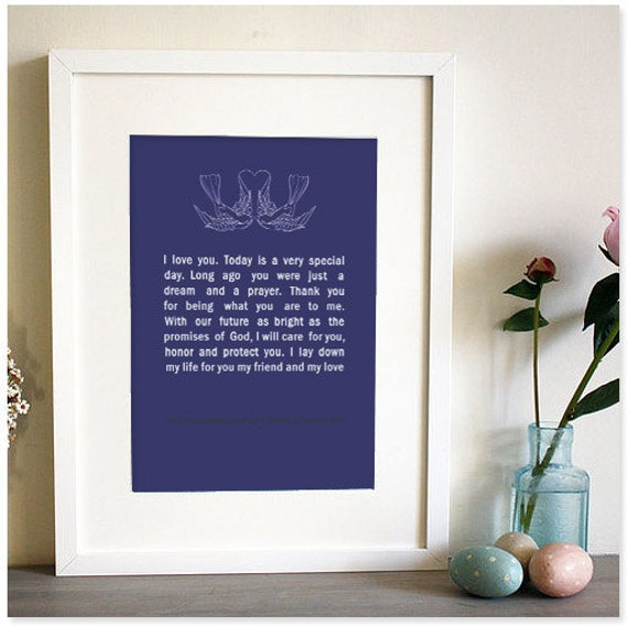 Items Similar To Framed Wedding Vows Personilised Gift For 1st Anniversary