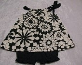 black and creamy white flower pillowcase dress with panties size 18 - 24 months