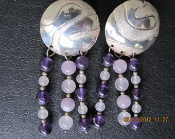 Signed Sterling hand crafted earrings with amethyst and rosy quartz beads