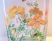 handpainted glass poppy vase
