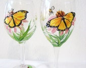hanpainted wineglasses with monarch butterfly