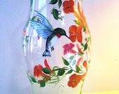 Hand Painted Hurricane with Hummingbird and Trumpet Flower