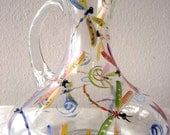 Hand Painted tall pitcher with rainbow colored dragonflies,wedding,Mothers DayThis elegant one of a kind piece is made of high quality Polis