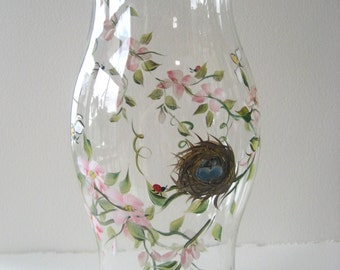 handpainted glass hurricane, candleholder, wedding table, centerpiece