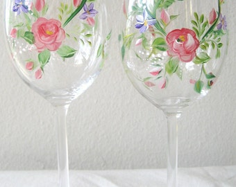 "Wedding day, Valentine""s Day  wineglasses, handpainted roses and violets. Set of 8"