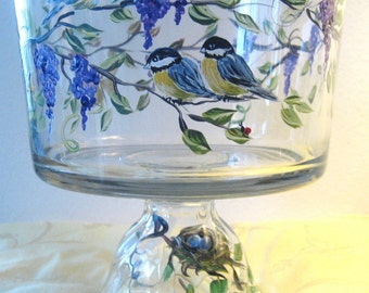 handpainted glass  bowl with chickadees .