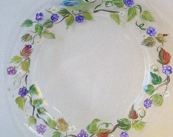 handpainted plate with blackberries