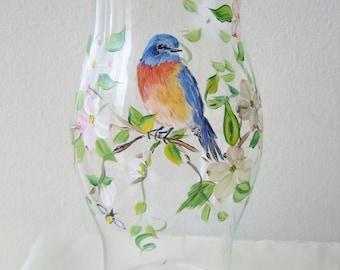 Handpainted glass hurricane with bluebird and dogwood