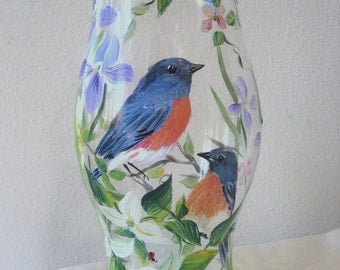 Handpainted  Hurricane candleholder with Bluebirds.
