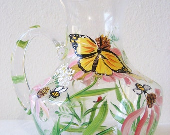 pitcher,hand painted, christmas gift for her , butterflies,
