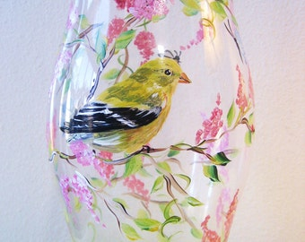 hurricane candleholder with painted goldfinch design