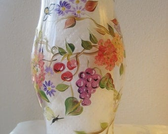 Handpainted hurricane with autumn fruits and leaves