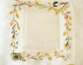 handpainted glass plate with fall leaves and chickadee