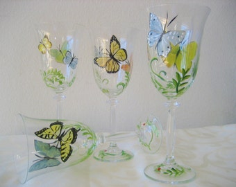 Hand painted glass wineglasses with butterfly , set of four