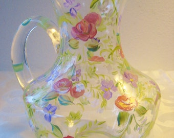 Hand painted glass pitcher with rose garden pattern
