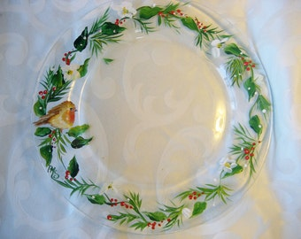 Hand painted glass Christmas plate with red robin and holly.