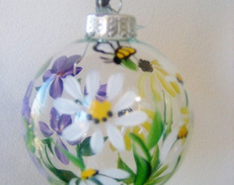handpainted  christmas ornament with wildflowers ,daisies and blackeyed susan.