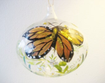 Christmas ornament , handpainted with wildflowers and monarch butterfly