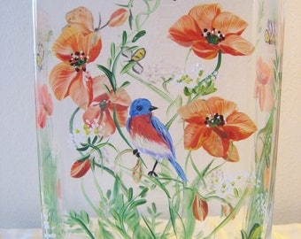 Handpainted vase with bluebird and poppies