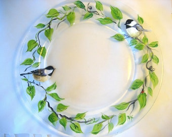 Hand painted glass plate with Spring leaves, vine and chickadees , wedding gift idea, housewarming gift