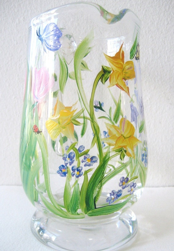 Hand-painted Glassware,  pitcher, Spring flowers,tulips, daffodils, forget me nots