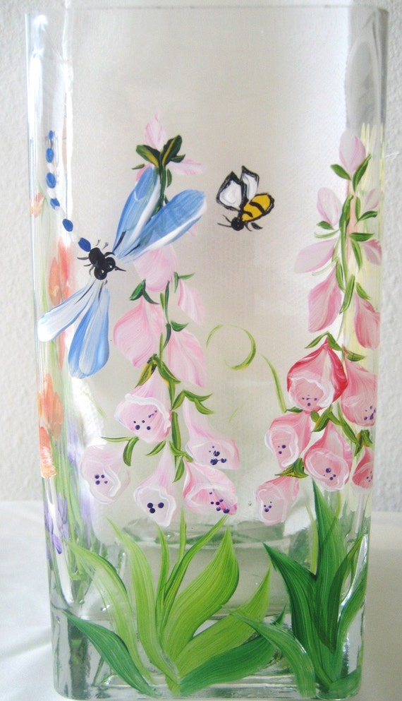 painted glass vase with hollyhocks, irises, poppies,flowers, wedding, birthday ,special gift