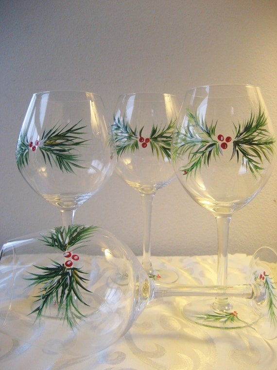 items similar to handpainted christmas wine glasses set