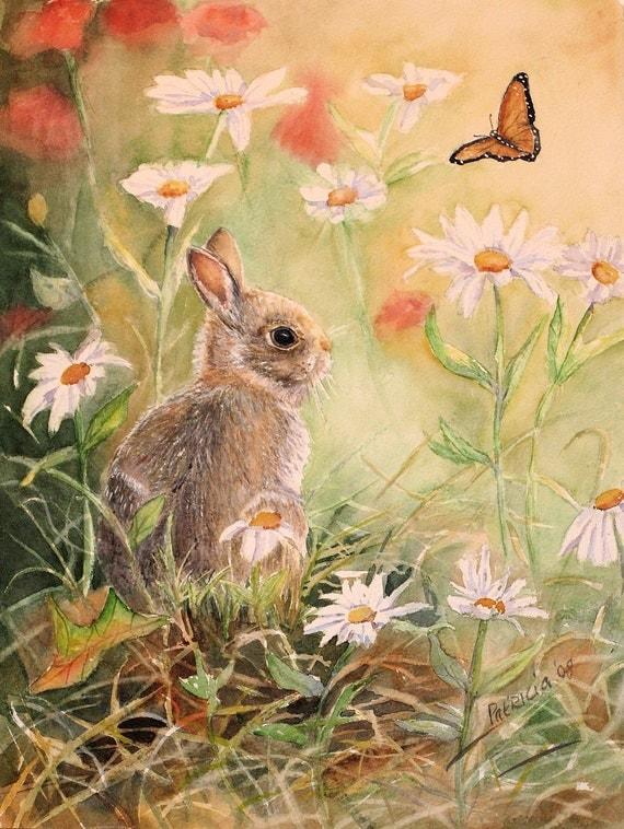 Bunny Rabbit Painting Easter Bunny Watercolor Print