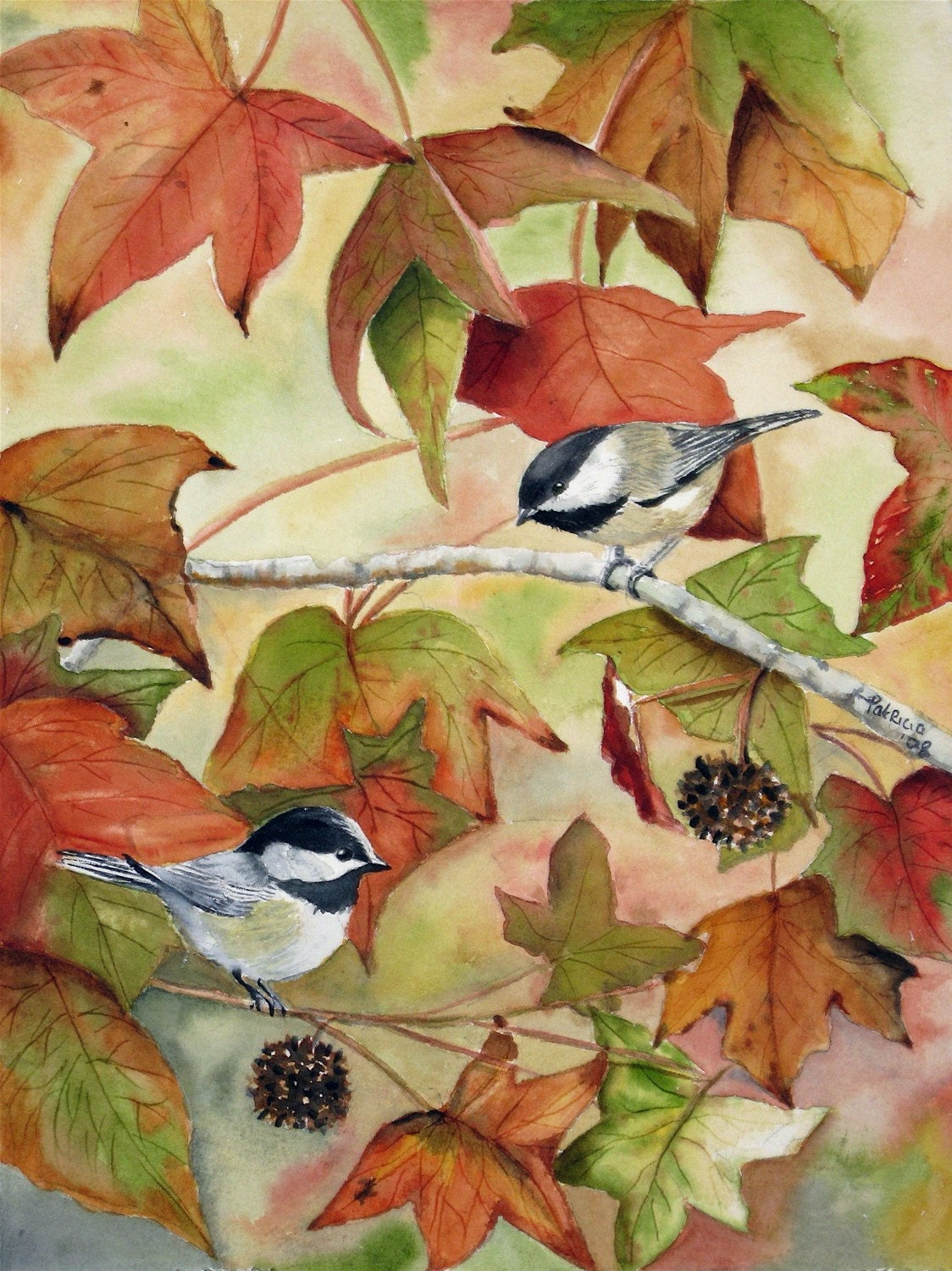 Chickadees On Autumn Leaf Branch By Tivoligardens On Etsy