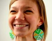 Grassy Robin's Egg Spiral Macrame Earrings