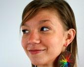 Rainbow Leather Sunburst Earrings