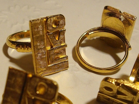 Vintage Gold LOVE Ring - All You Need Is LOVE